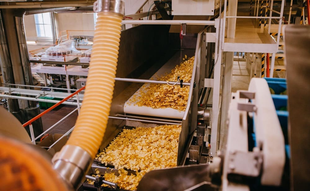 Фруктовые чипсы на заводе