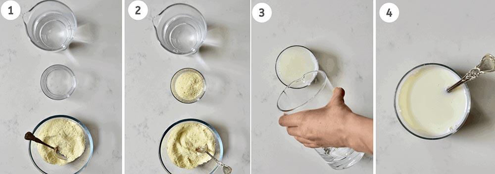 Сухое молоко и вода